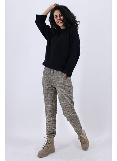 Nismia Yarasa Kol Kazak Ekose Pantolon Takımı Siyah